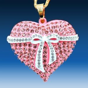 Betsey Johnson Crystal Pink Bow Heart Necklace